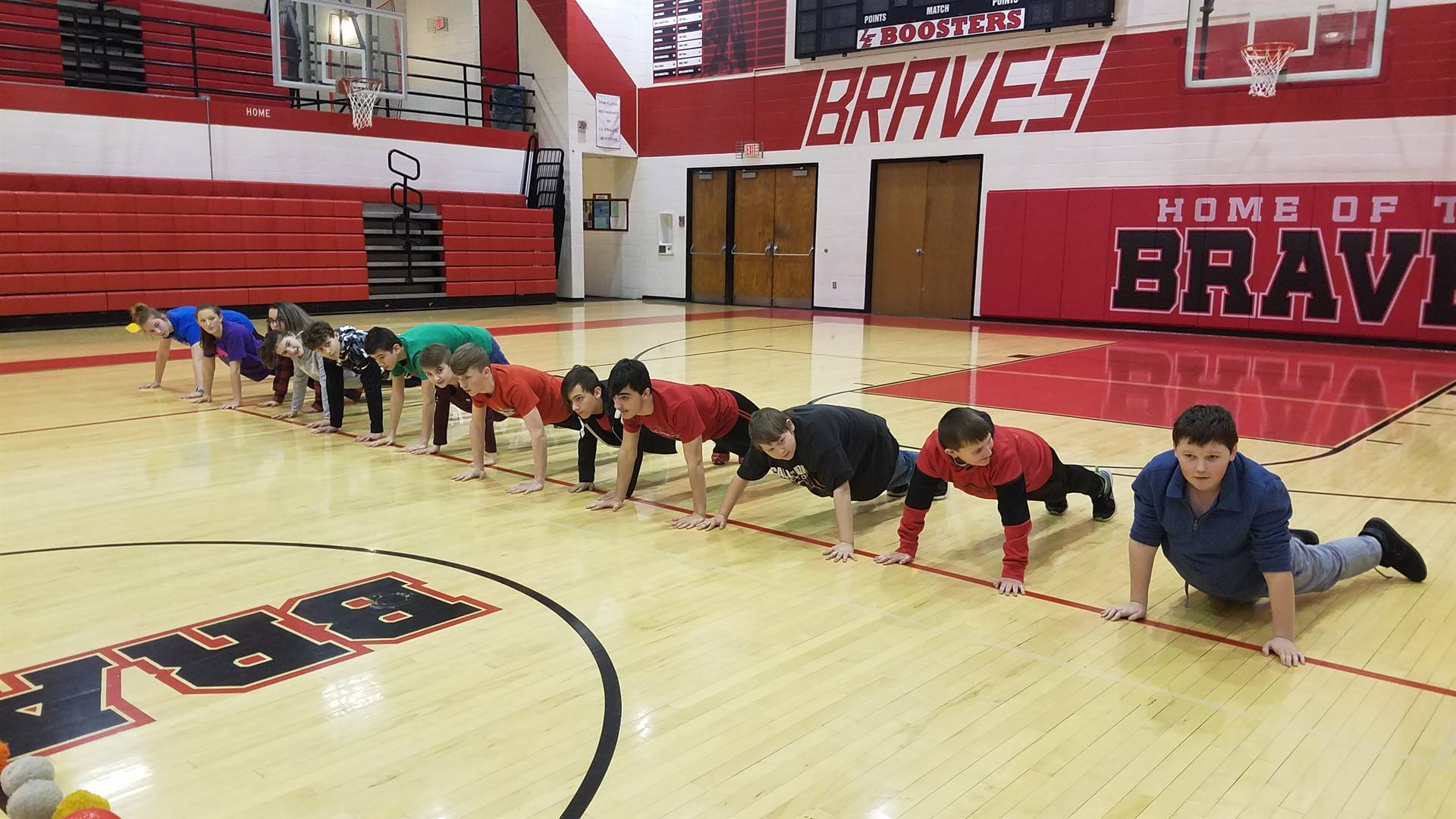 Planks before dodgeball game