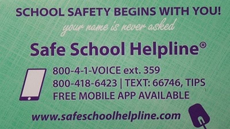 Safe School Helpline Contact Info